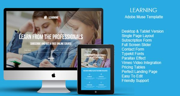 Best Premium Adobe Muse Landing Page Templates - Adobe muse website templates